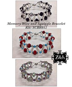 DIY Memory Wire and Squiggle Bracelet Kit in Coral Red and Turquoise. by Zilchbeads on Etsy https://www.etsy.com/au/listing/280873484/diy-memory-wire-and-squiggle-bracelet