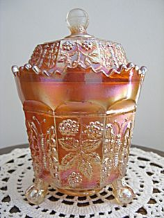 Fenton Buttterfly and Berries Carnival Glass Covered Su (Glass - Carnival Glass) at Aunt Pitty Pat's China Closet Fenton Glassware, Antique Glassware, Fenton Lamps, Antique Bottles, Vintage Bottles, Vintage Perfume, Vintage Dishes, Vintage Kitchen, Vintage Dishware