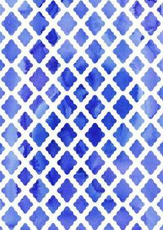 Watercolor Diamonds in Cobalt Blue Art Print by Micklyn