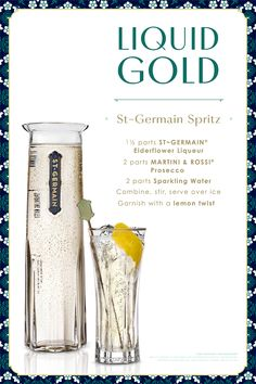 Germain Elderflower Liqueur at a great price through Drizly and have it delivered directly to your door. Drizly makes it easy to shop for liqueurs online. Bartender Recipes, Drinks Alcohol Recipes, Non Alcoholic Drinks, Fun Drinks, Yummy Drinks, Beverages, St Germain Cocktail, Cocktail Drinks, Cocktail Recipes