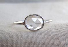 Open Back Rose Cut Oval Diamond Ring | 1ct at Sarah Perlis Jewelry:http://www.sarahperlis.com/products/open-back-1-carat-rose-cut-oval-diamond-ring