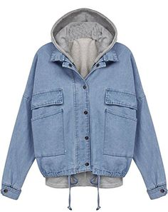 AvaCostume Women's Long Sleeve Drawstring Denim Hooded Outerwear Jacket * For more information, visit image link.