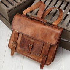 Looking for a stylish leather satchel backpack which can also carry your laptop. Check out the unique designs satchel backpack on High On Leather. Vintage Leather Backpack, Leather Laptop Backpack, Satchel Backpack, Brown Leather Satchel, Leather Briefcase, Leather Men, Leather Bags, Real Leather, Leather Backpacks