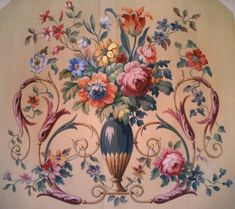 Aubusson Cartoon, French c. 1860 - These are the painted panels used as patterns by the weavers who worked something like this up in wool and silk yarns.  Today, hung in antique frames, the cartoons (or drawn/painted panels) are sought after.