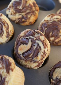 Self-frosting Nutella Cupcakes: use this recipe with the amped up box cake mix recipe (like a bakery cake).