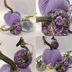 I found some hidden treasures today for a custom order. The purple cashmere is a sneak peak for next year. I'm borrowing the beaded from Yvette's desk. She's a purple lover too. Velvet Pumpkins, Fabric Pumpkins, Fall Pumpkins, Halloween Pumpkins, Fall Halloween, Halloween Crafts, Pumpkin Art, Pumpkin Crafts, Thanksgiving Decorations