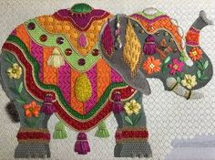 Raymond Crawford needlepoint elephant