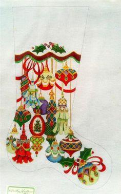 strictly christmas ornaments stocking handpainted hp needlepoint canvas 13mesh ebay 312 - Needlepoint Christmas Stocking Canvas