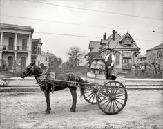 """Louisiana circa 1903. """"New Orleans milk cart."""" Bonus points if you can Street View this. 8x10 inch glass negative, Detroit Publishing Company."""