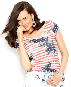 GUESS Flag-Print Cage-Back Top - Tops - Women - Macy's