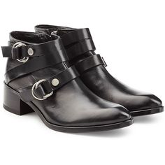 McQ Alexander McQueen Leather Ridley Harness Ankle Boots (7.271.220 VND) ❤ liked on Polyvore featuring shoes, boots, ankle booties, black, leather booties, black ankle boots, flat booties, black bootie and black booties