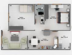 Área com garagem para um carro: 76,81m²   Casa ampla e confortável contendo dois quartos, sala, copa e cozinha conjugadas, área de serviç...
