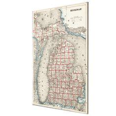 Vintage Map of Michigan (1893) Canvas Print