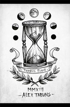 I like the idea of moon phases Tattoo Sketches, Tattoo Drawings, Clock Drawings, Pencil Drawings, Alex Tabuns, Hourglass Tattoo, Hourglass Drawing, Time Tattoos, Tattoo Ideas
