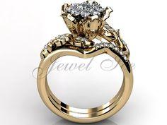 14k yellow gold diamond unusual unique cluster flower engagement ring, bridal set, wedding ring, anniversary ring, flower engagement set by Jewelice