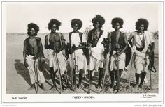 Sudanese warriors of the type which fought for the Mahdi, 1800's, nick named (fuzzy wuzzies). From 1881-85 Muhammed Ahmed proclaimed himself the Mahdi and established what could be described as the first modern Islamist state in Sudan. His fanatical followers held their own against the more advanced British, Egyptian and Ethiopian armies, and weren't defeated until 1898.