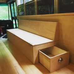 DIY Folding Couch PlansAsk a question Tiny House, Bus House, Folding Couch, Folding Furniture, Mcm Furniture, Plywood Furniture, Cargo Trailer Camper, Pickup Camper, Boat Trailer