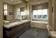 MASSIVE mirror, great backsplash; Bathroom - contemporary - bathroom - toronto - Douglas Design Studio