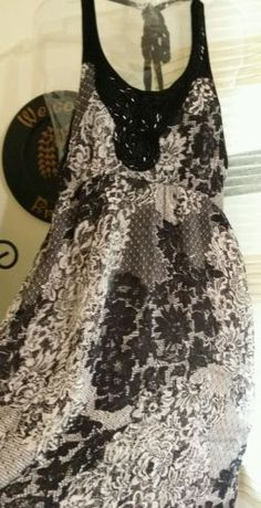 ANGIE brand sequins lace floral boho black people free style dress womens size M