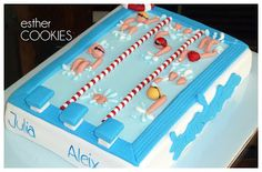 Pool Birthday Cakes, 13th Birthday, Teen Cakes, Girl Cakes, Swimmer Cake, Pool Cake, Cool Swimming Pools, Bday Girl, Swim Team