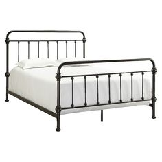 • Metal<br>• Industrial chic<br><br>The Tilden Standard Metal Bed from Inspire Q brings the old-world look of metal to today's bed. The headboard and footboard have a metal rod and finial look that is classic but still incorporates the new industrial themed designs.