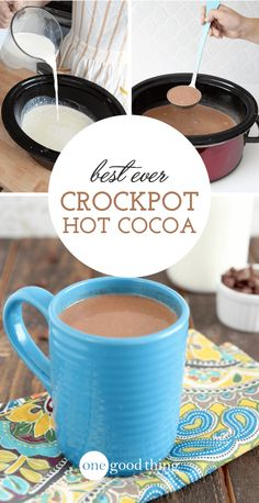 Best Ever Crockpot Hot Chocolate There's nothing more comforting that a creamy cup of hot chocolate on a cold day. This Crockpot Hot Chocolate is the best I've ever tasted!Best of the Best Best of the Best may refer to: Crockpot Hot Chocolate, Hot Chocolate Bars, Hot Chocolate Recipes, Mint Chocolate Chips, Vegetarian Chocolate, Chocolate Smoothies, Chocolate Shakeology, Chocolate Chocolate, Chocolate Crinkles