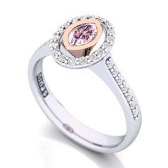 Rare Pink Marquise Diamond Ring.