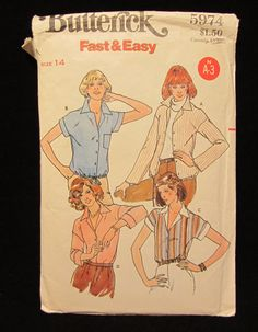 Items similar to -Vintage Butterick Pattern Misses Blouse-Size 14 on Etsy Vogue Sewing Patterns, Vintage Sewing Patterns, 1970s, Nostalgia, Trending Outfits, Unique Jewelry, Handmade Gifts, Etsy, Kid Craft Gifts