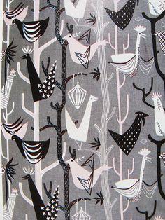 1950s bird print furnishing fabric