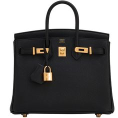 Pre-Owned Hermes Black Baby Birkin 25cm Bag Togo Gold Hardware (183.725 NOK) ❤ liked on Polyvore featuring bags, handbags, black, real leather purses, jewel purse, hermes purse, multi colored handbags and multi color purse