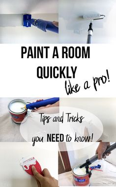 How to Paint a Room Quickly - Tips and Tricks Save this! How to paint a room like a pro. A step by step guide on how to get it done fast and like a pro! Painting Walls Tips, Diy Painting, How To Paint Walls, Painting A Bedroom, Steps To Painting A Room, Painting Hacks, Washing Walls Before Painting, How To Paint Ceiling, How To Paint Baseboards