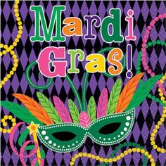 Mardi Gras Party Beverage Napkins, 16-Count, Multicolor
