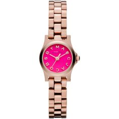 Marc By Marc Jacobs Pink Face Watch ($200) ❤ liked on Polyvore
