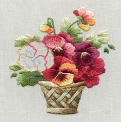 These vibrant autumn pansies in a basket are reproduced from a gorgeous postcard by artist Catherine Klein Vintage miniature embroidery is a collection of needle painting projects in miniature. Embroidery Shop, Embroidery Needles, Silk Ribbon Embroidery, Crewel Embroidery, Cross Stitch Embroidery, Embroidery Patterns, Machine Embroidery, Pdf Patterns, Embroidered Roses