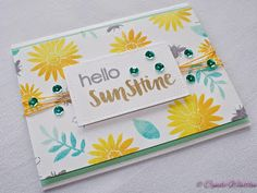 Sending You Sunshine Stamp Set by 1Canoe2 for Studio Calico - Simon Says Stamp Orange Peel and Audrey Blue Inks - Hero Arts Lemon Yellow and Mint Julep Inks - Lawn Fawn Stitched Rectangle Die.