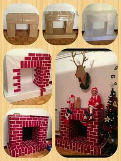 Make a cardboard fireplace for Christmas! - Places Like Heaven- Faire une cheminée en carton pour Noël! – Places Like Heaven Make a cardboard fireplace for Christmas! Make a cardboard fireplace for Christmas! Office Christmas Decorations, Christmas Crafts For Kids, Christmas Projects, Simple Christmas, Holiday Crafts, Christmas Holidays, Christmas Ornaments, Diy Christmas Wall Decor, Christmas Ideas
