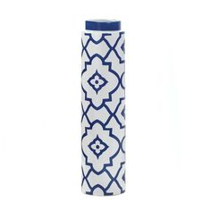"""Moroccan Designed Tall Vase.The stylish mix of bright white and deep blue is made modern with a  geometric and Moroccan pattern. This tall vase delivers a splash of  graceful style for your mantel or table and the high-gloss ceramic  finish makes it a fantastic accent piece for any of your living spaces.  Item weight: 2.40lbs Item dimensions: 4.13"""" W x 16.38"""" H x 4.13"""" L Materials: Ceramic"""