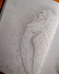 Skizze Meerjungfrau Dark Drawings, Fantasy Dragon, Greek Mythology, Airbrush, Art Sketches, Art Girl, Silhouette, Artwork, Nudes