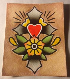 4x5in Cross Flower Traditional Old School Tattoo Flash Watercolor Painting | eBay