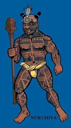 Marquesan warrior on blue background with headpiece. na toa nukuhiwa 17 May by Goniagnostus, via Flickr