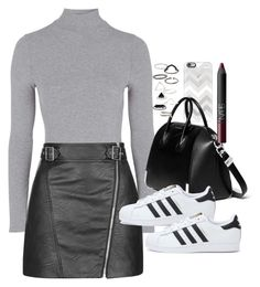 """Outfit with sneakers and a leather skirt"" by ferned ❤ liked on Polyvore featuring Casetify, Topshop, Givenchy, adidas and NARS Cosmetics"