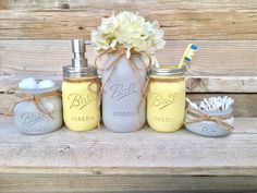Etsy Yellow And Grey Bathroom Decor, Yellow And Gray Mason Jar Bath Set ,Yellow