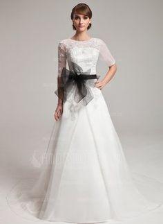 Fancy - A-Line/Princess Scoop Neck Chapel Train Organza Wedding Dress With Lace Sash Beading (002004752) - AmorModa