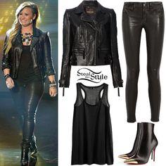 demi lovato style 2014 | Demi Lovato: Leather Jacket, Skinny Pants ...