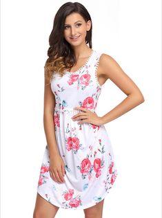 Women's #white sleeveless mini #dress high waist flower pattern print design, lace trim, casual, leisure, summer Occasions.