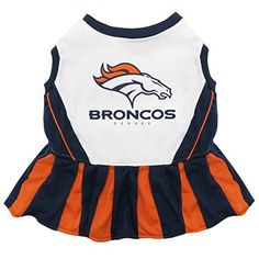 Pets First NFL Denver Broncos Dog Cheerleader Dress Small >>> Check out the image by visiting the link.