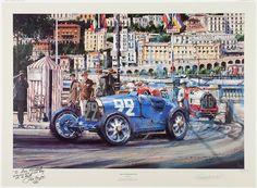 Lithographie de Nicolas Watts - Grand Prix de Monaco 1930 - ( Annotée par René Dreyfus )             ..