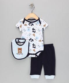 White & Navy 'Beary Cute' Bodysuit Set