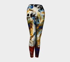 Yoga leggings designed using an original abstract painting by me. No room for art on your walls? Wear it! Click on the visit button to see more images of these leggings, and many more designs, too. #etsy