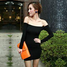 Women's Autumn New Style Fashion Black  Plus Size XL XXL XXXL XXXXL XXXXXL Slash Neck Sexy Slim Basic Sheath One-Piece Dress